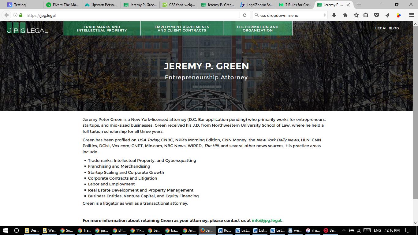 JPG Legal's Website on November 14, 2016