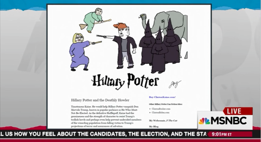 Rachel Maddow discusses my Hillary Potter fanfiction on July 22, 2016, the day Clinton chose Kaine as her running mate.