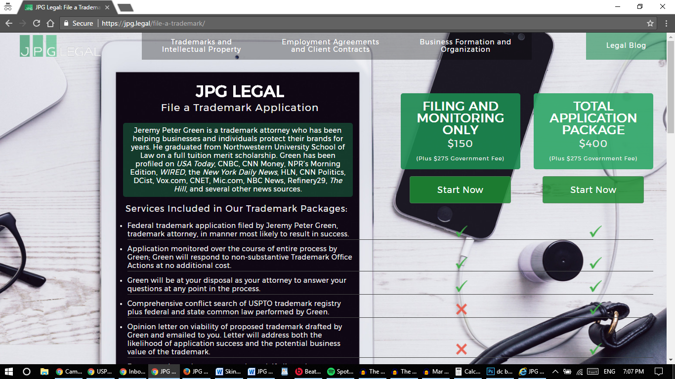 May 2 2017 screenshot of JPG Legal's TM page