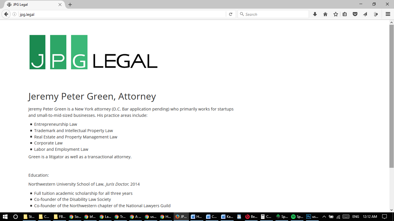 JPG Legal's website on September 28, 2016.