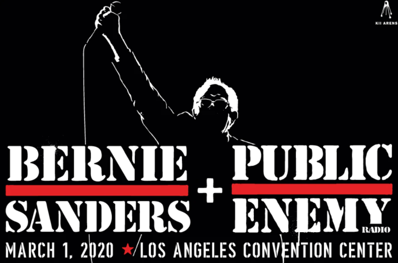 "The Sanders Campaign Flyer for the ""Public Enemy"" concert."