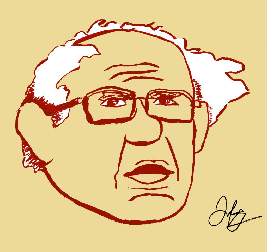 Stylized drawing of Bernie Sanders by Jeremy Peter Green.