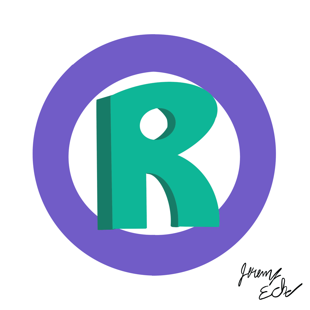 Green and purple registered trademark (®) symbol cartoon representing how to come up with a brand name, signed by Jeremy Eche.