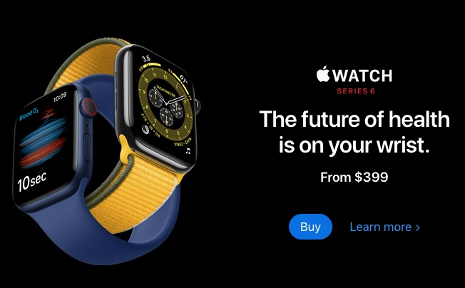 """Product photo of Apple Watch with slogan, """"The future of health is on your wrist. From $399."""""""