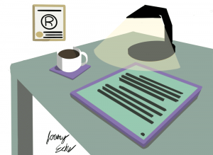 Illustration of desk with coffee mug, tablet PC, lamp, and framed trademark certificate. Signed by artist Jeremy Eche.